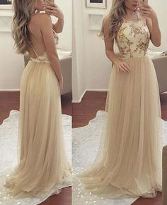 Charming Tulle Backless Straps New Style Prom Gowns 2018, Tulle Long Formal Dresses, HalterEvening Dresses
