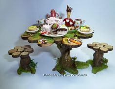OOAK Fairy party table in miniature for dollhouse or terrarium