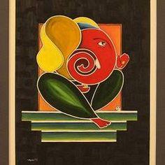 """Ganesha"" by Ayan Chakrabarti Oil on Canvas Ganesha Drawing, Lord Ganesha Paintings, Ganesha Art, Ganesha Rangoli, Religious Paintings, Indian Art Paintings, Modern Art Paintings, Acrylic Painting For Kids, Abstract Art For Kids"