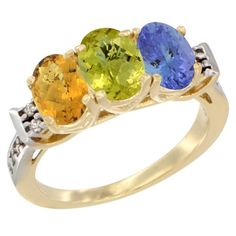 14K Yellow Gold Natural Whisky Quartz, Lemon Quartz and Tanzanite Ring 3-Stone 7x5 mm Oval Diamond Accent, sizes 5 - 10 >>> Unbelievable  item right here! : Ring Bands