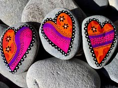 youve decorated my heart magnet set,  Painted rocks (sea stones) from Cape Cod.  Fridge magnets. Refrigerator magnets. Art for file cabinets.  Art that sticks.  Bring a piece of the shore...  Sea stone magnets in water-resistant glaze inks over paint in vibrant colors of tangerine, red, purple, pink, black and white.  The tiny magnets used on the back of each stone are Super Strong, neodymium-iron-boron Rare Earth magnets.  Add some colorful art to your fridge, filing cabinet, or other metal…