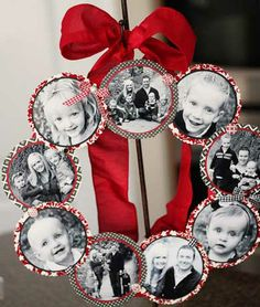 DIY Christmas Wreaths for Front Door -  Family Photo Wreath - Click Pick for 24 Easy Christmas Decorating Ideas