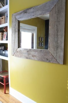 DIY Mirror Frame >> http://blog.diynetwork.com/tool-tips/2013/03/04/diy-mirror-frame-barnwood/?soc=pinterest#