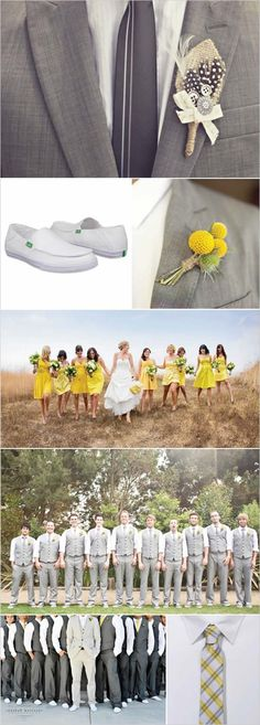 the groomsmen in this are actually what i'd want in my wedding. no jackets!! so adorable. plus, gray and yellow yet again.