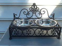 Metal Scroll Ornate Shabby Chic Double Bowl Dog Dish Or Cat Bowls Pet Feeder Dog Bowl on Etsy, $40.95