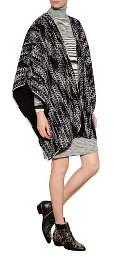 A muted gray knit print informs this sumptuous wool cape from Missoni #Stylebop