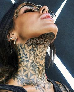 After I finish my thigh. What ya guys think Dope Tattoos, Girl Neck Tattoos, Neck Tattoos Women, Best Tattoos For Women, Body Art Tattoos, Hand Tattoos, Chest Neck Tattoo, Girls With Sleeve Tattoos, Arabic Tattoos