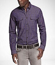 CHECKED FITTED MILITARY SHIRT