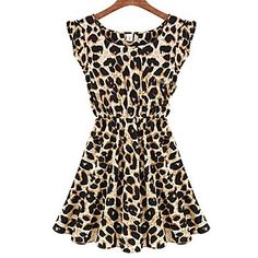 Blues Women's Round Neck Leopard Print Sleeveless Dress - USD $ 5.99