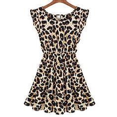 Blues Women's Round Neck Leopard Print Sleeveless Dress - USD $ 5.99