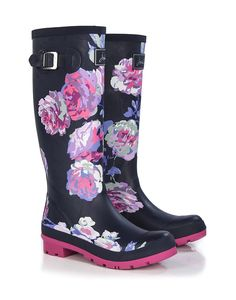 Joules Women's Wellyprint Printed Wellington Boots - French Navy Beau Bloom  W_WELLYPRINT
