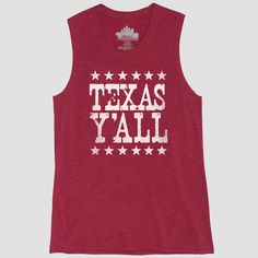 4316ff1ab43d7 Women s Texas Ya ll Graphic Tank Top - Awake Red