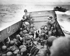 US troops approaching Omaha Beach before landing, D-Day, June 6, 1944.