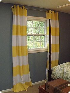 How to paint striped curtains with spray on paint