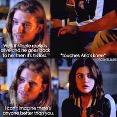 """The Wrath of Kahn"" - Aria and Jason Pretty Little Liars Aria, Pretty Little Liars Seasons, Pll, Aria And Jason, Noel Kahn, Jason Dilaurentis, Van Acker, Netflix, Feeling Empty"