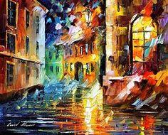 Art - Little Street - PALETTE KNIFE Oil Painting On Canvas By Leonid Afremov  by Leonid Afremov