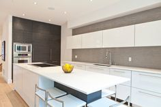 2 Tone cabinets - wood and lacquer.    -Modernist House toronto - BiglarKinyan Design Partnership Inc.