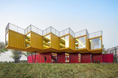 Shipping container pavilon by People's Architecture Office, Taiyuan – China Sea Containers, Sea Container Homes, Container Shop, Container Design, Cargo Container, Container Architecture, Container Buildings, Shipping Container Office, Shipping Containers