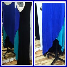Milano Floor length tunic Blue Green Black Top This tunic top is fantastic! With an incredibly soft knit, it's perfect for layering this fall and winter! Blue, green and black color blocking with a beautifully rounded high low hemline. Milano Tops Tunics