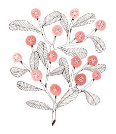 Sweet pink flower illustration // 8 x 10 giclée by caileighspeck, $25.00