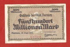 Germany Barmen 500 million millionen mark 1923 banknote notgeld 500000000 mk
