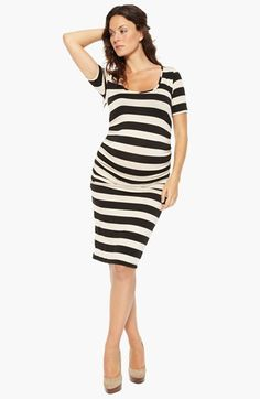 black  white stripe maternity dress.