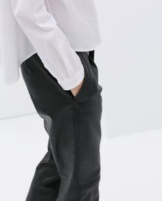 FAUX LEATHER CROPPED TROUSERS from Zara