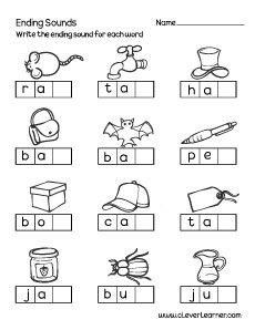 Ending sounds worksheet for preschool - Teaching - kind English Activities For Kids, English Worksheets For Kindergarten, Kindergarten Learning, Reading Worksheets, Vowel Worksheets, Printable Preschool Worksheets, Shapes Worksheets, Kids Worksheets, Alphabet Worksheets
