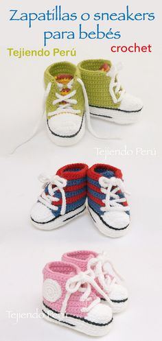 Sneakers o zapatillas para bebés tejidas a crochet!  Paso a paso con video tutorial