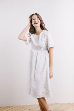 The Fawn Eyelet Lace Empire Dress in White