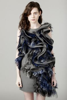 Sculptural Fashion - dress with 3D ripples & contrasting textile textures; creative fashion design // Lu Liu S/S 2013  #wavetheory