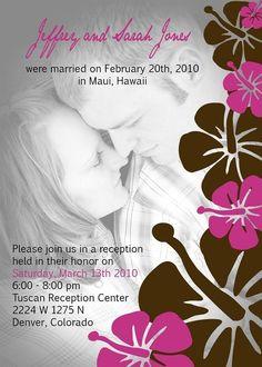 Custom post wedding reception invitation by SandrinesBoutique, $15.00