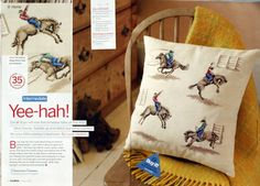 Cowboy cross stitch pillow