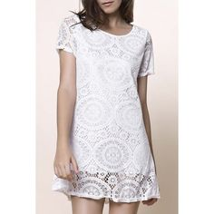 Stylish Short Sleeve Round Collar Solid Color Lace Women's Dress #women, #men, #hats, #watches, #belts, #fashion, #style