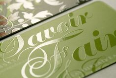 Beautiful Spot UV on cards. With UV inks this effect can be done inline on-press.
