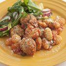 Mini Chicken Sausage Meatballs with Gnocchi and Tomato Sauce