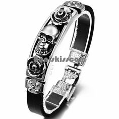 Gothic Skeleton Skull Punk Bracelet Leather Rivet Cuff Bangle Wristband Jewelry W/Adjustable Snap Button Unisex. Punk rock style-cool designed with wide leather bracelet, featuring skulls, rivet, adding a touch of gothic to your look,perfect. The Bangles, Bracelets For Men, Bangle Bracelets, Black Leather Bracelet, Leather Chain, Crane, Leather Wristbands, Gothic Accessories, Skull
