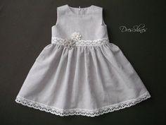 Baby girl 1st birthday dress Lemon pepper grey by Dresshines