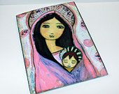 Heart of Gold Angel - Greeting Card 5 x 7 inches - Folk Art By FLOR LARIOS. $5.00, via Etsy.
