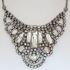 White Bridal Crystal Bib Necklace $167
