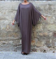 Brown Maxi Dress Caftan Abaya Plus size by cherryblossomsdress