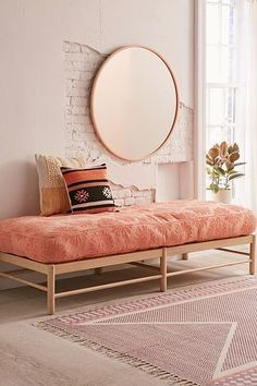 Amira Carved Wood Daybed Jen Alvis Meneses Jen Alvis Meneses Dotty Daisy Daybed Cushion JenAlvisM Am Living Room Interior, Living Room Decor, Bedroom Decor, Wood Furniture Living Room, Modern Furniture, Bedroom Ideas, Furniture Design, Wood Daybed, Daybed Couch