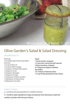 Olive Garden Salad Dressing I made this & had to make some adjustments cuz it was way to salty. Use only 1 Italian dressing mix Do not add the extra salt Copycat Recipes, New Recipes, Cooking Recipes, Favorite Recipes, Healthy Recipes, Delicious Recipes, Recipies, Olive Garden Salad, Olive Garden Recipes