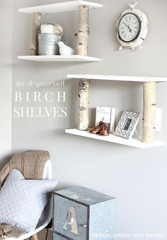 Open birch shelves for added storage space! #DIY
