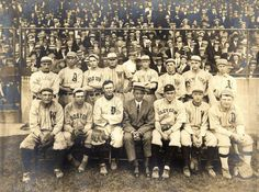 """Predecessor to the official All-Star Game.  This is a 1911 American League """"All-Star"""" team that came together to commemorate the passing of Addie Joss.  Notice Ty Cobb wearing a Cleveland uniform.  Walter Johnson, Eddie Collins, Frank Home Run Baker, Elmer Flick, Joe Wood, and Tris Speaker also in the picture."""
