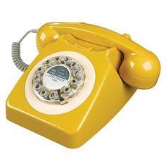 Wild and Wolf 746 Phone in English Mustard - retro yellow phone