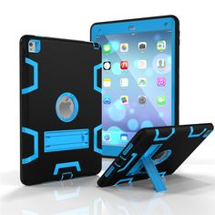 iPad Pro 9.7 3in1 Case, iPad Pro Case, Yxim Colorful Fashion Tablet Case Full Body Silicone Plastic Cover With Built-In Kickstand (Black Blue) *** Want additional info? Click on the image.