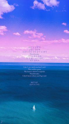 Heartbreaker by NCT 127 Lyrics Wallpapers@ Korean Phrases, Korean Words, Korean Text, K Quotes, Lyric Quotes, Song Lyrics Wallpaper, Wallpaper Quotes, Nct 127, Korea Quotes