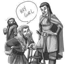 Fili flirts with Tauriel.