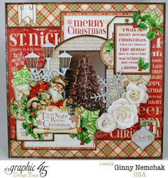 Love this jolly and bright layout from Ginny using 'Twas the Night Before Christmas! #graphic45 #layouts